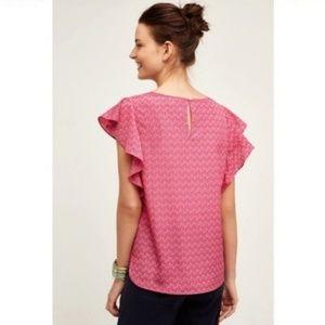 Meadow Rue Pink Printed Ruffle Sleeve Top
